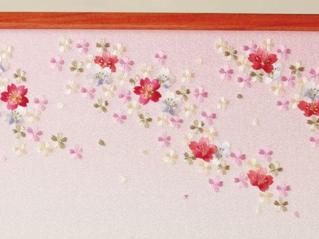 雛人形・京小十番親王・柳官女付五人飾り塗り桐三段飾り No3012C ひな屏風 桜の刺繍