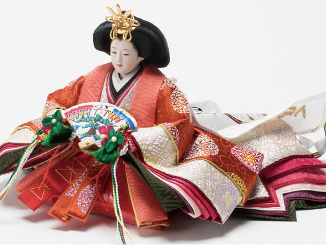雛人形・京小十番親王焼桐平台飾りコンパクトセット No1009C 女雛の衣装とお顔