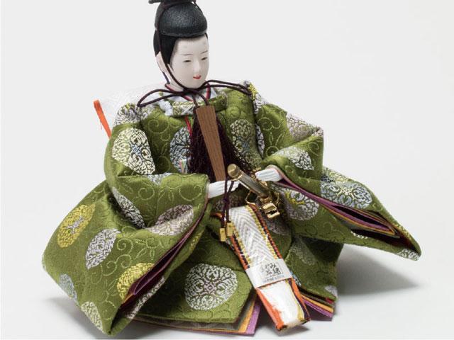 雛人形・京小十番親王焼桐平台飾りコンパクトセット No1009C 男雛の衣装とお顔
