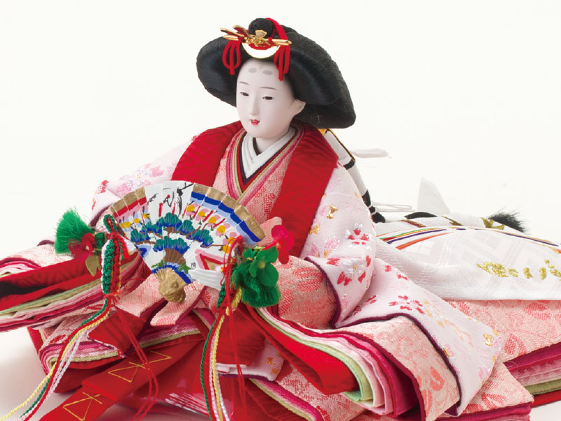 雛人形・京小十番親王焼桐収納飾りセット No1020 女雛の衣装とお顔