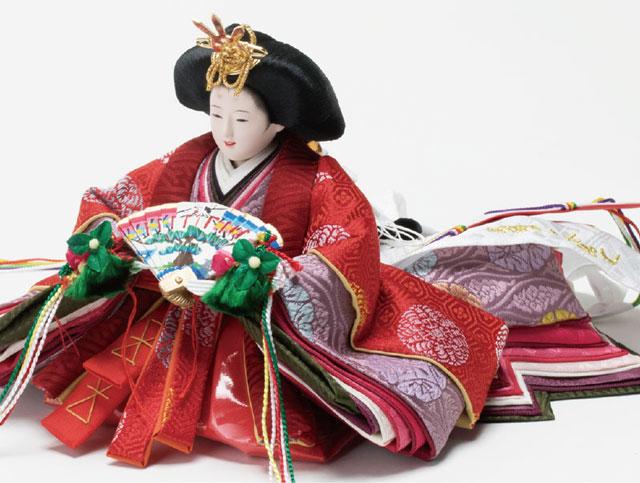 雛人形・京十二番親王焼桐平台飾りミニサイズセット No1203 女雛の衣装とお顔