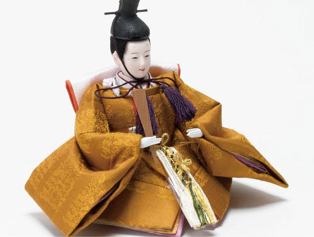 雛人形・京十二番親王焼桐平台飾りミニサイズセット No1203 男雛の衣装とお顔