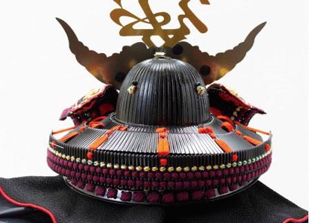 直江兼続 浅葱縅二枚胴具足模写兜飾り  No3141  兜の背面