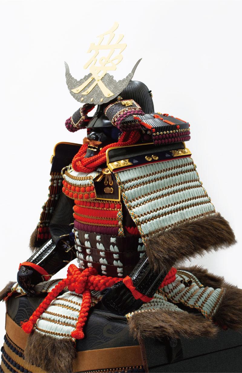五月人形・戦国武将・直江兼続公 愛染明王前立て 上杉神社蔵 浅葱縅二枚胴具足模写鎧飾り