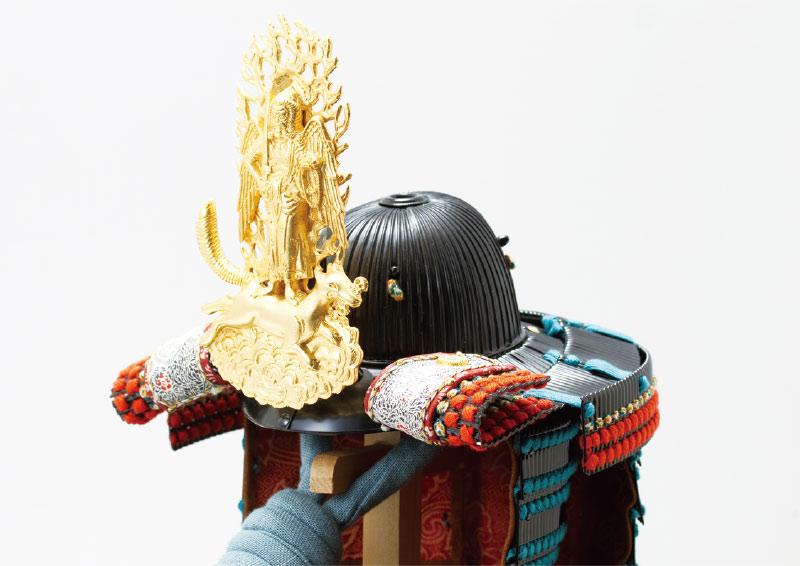 上杉神社所蔵 重要文化財 色々威腹巻具足模写(飯綱権現前立)兜陣幕飾り 兜本体