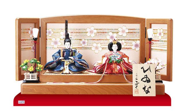 雛人形・塗り桜ミニ平台飾り 京十二番親王No1301