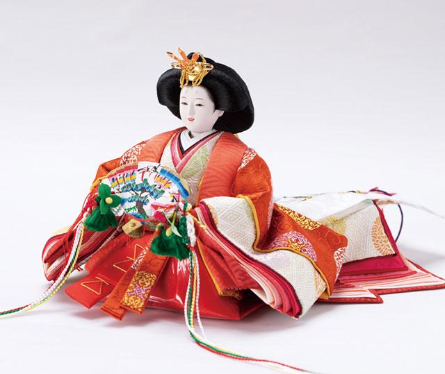 雛人形・塗り桜ミニ平台飾り 京十二番親王No1301女雛の衣装とお顔