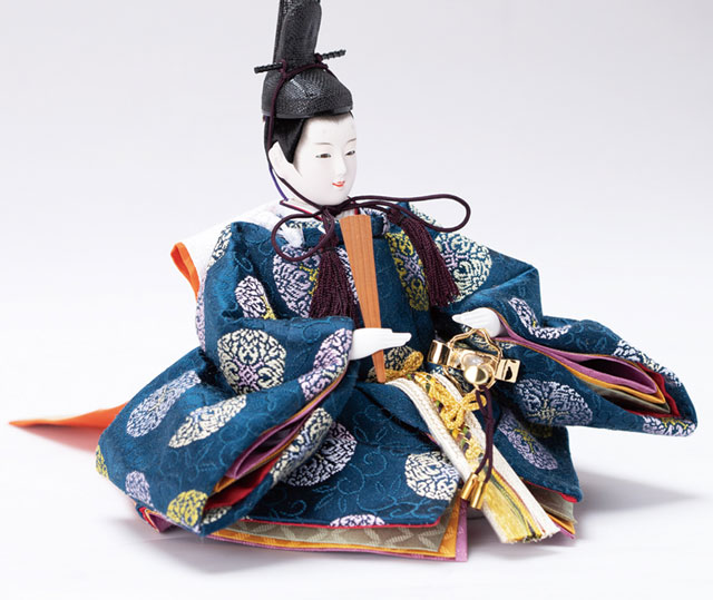 雛人形・塗り桜ミニ平台飾り 京十二番親王No1301男雛の衣装とお顔