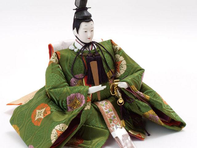 雛人形・京八番親王六寸官女付焼桐三段飾りセット No3031B 男雛のお顔と衣装