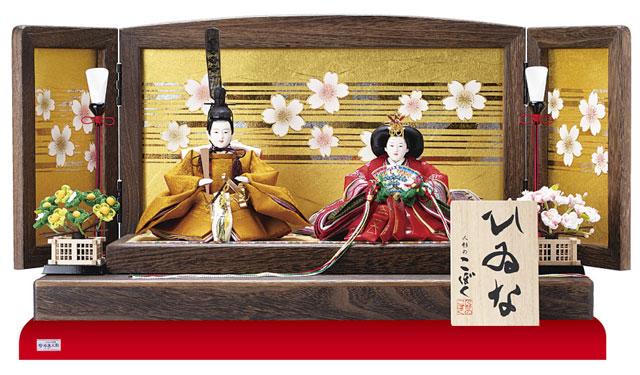 雛人形・コンパクトな焼桐平台親王飾りNo1303