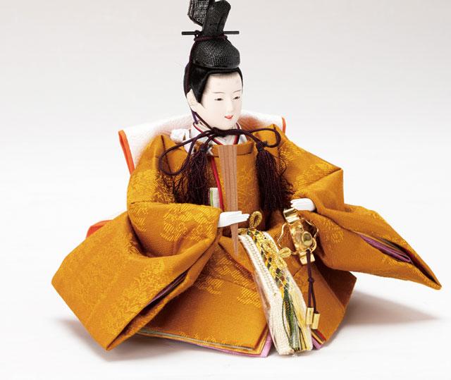雛人形・コンパクトな焼桐平台親王飾りNo1303 男雛の衣装とお顔