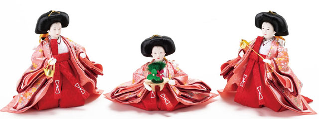 京十二番親王小柳官女付焼桐三段収納飾り No2996 三人官女の衣装とお顔