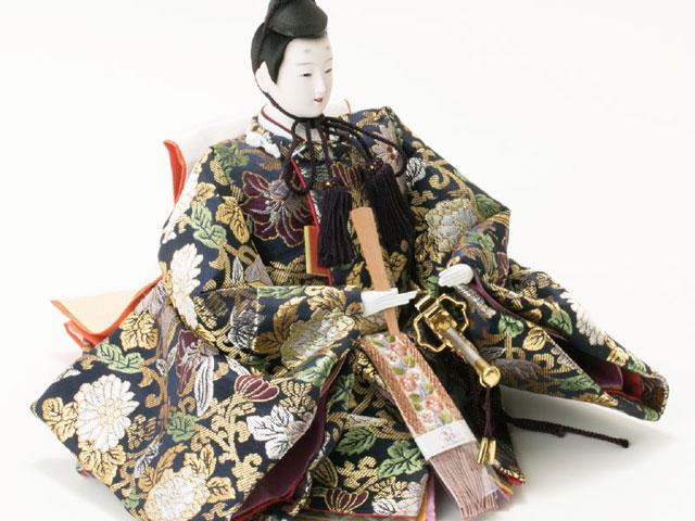 雛人形・京八番親王六寸8人(官女・五人囃子付)十人揃い焼桐三段飾りNo3030 男雛の衣装とお顔