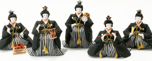 雛人形・京八番親王六寸8人(官女・五人囃子付)十人揃い焼桐三段飾りNo3030 五人囃子のお顔と衣装