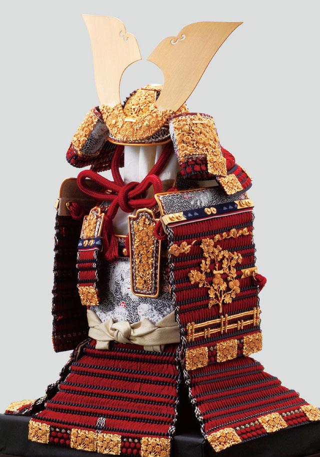 五月人形・櫛引八幡宮所蔵 国宝 菊一文字金物赤糸威模写大鎧No321B 大鎧本体