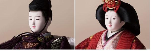 雛人形・京小十番親王焼桐平台飾りコンパクトセット No1009A 男雛・女雛のお顔