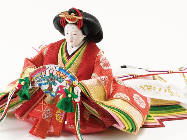 雛人形・京十二番焼桐平台親王飾りNo1201 女雛の衣装とお顔