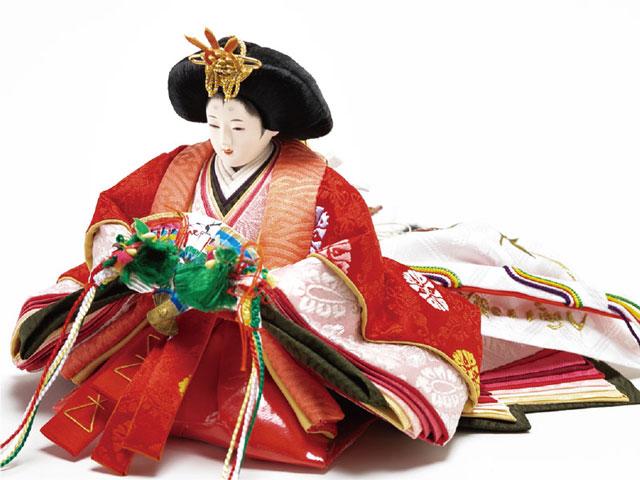 雛人形・京十二番焼桐平台親王飾りNo1401  女雛の衣装とお顔