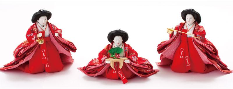 雛人形・三段飾り 京小十番親王柳官女付焼桐三段飾り No3000C官女の衣装とお顔