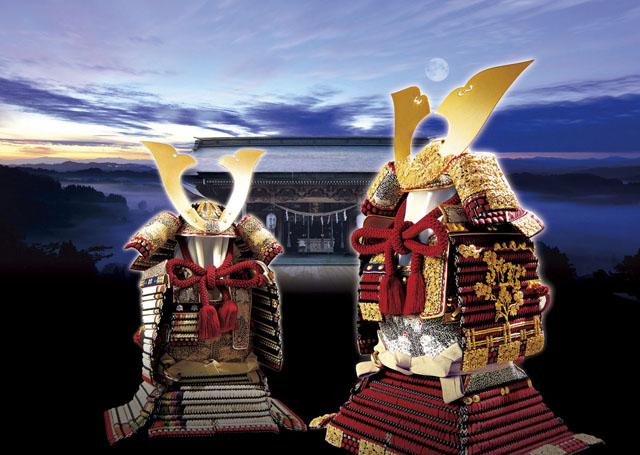 五月人形・青森 櫛引八幡宮所蔵 国宝模写鎧兜 菊一文字金物之大鎧、白糸褄取り大鎧
