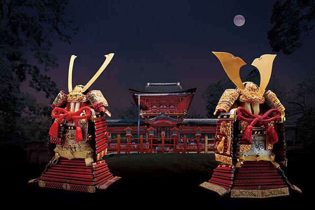 五月人形・国宝模写鎧兜 春日大社所蔵 国宝模写鎧兜 『竹に虎雀』金物赤糸威大鎧飾り・梅金物紅糸威梅飾りの大鎧飾り