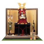 五月人形・国宝模写鎧兜 「菊一文字の大鎧」三分之一 焼桐平台飾り No321B