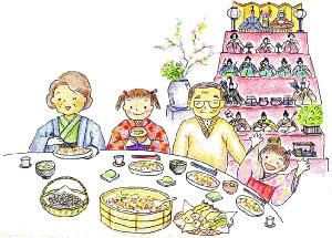 餅を供え家族そろってひな祭り
