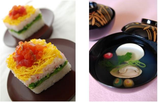 ひな祭りには菱餅・ちらしずし・蛤のお吸い物