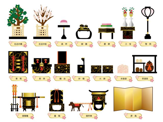 ひな祭り 七段飾りの雛人形 道具一式 屏風・桜橘・雪洞・三方・菱台・高坏・道具類