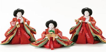 京小十番親王柳官女付焼桐三段飾りセットNo2993 三人官女