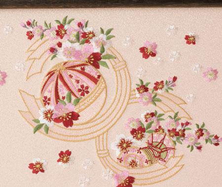 雛人形・京小十番親王柳官女付焼桐三段飾りセットNo2993 屏風 熨斗目に毬