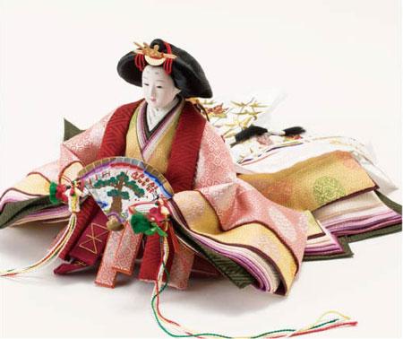 雛人形・焼桐三段飾り京十番親王・官女・五人囃子付10人飾りセット
