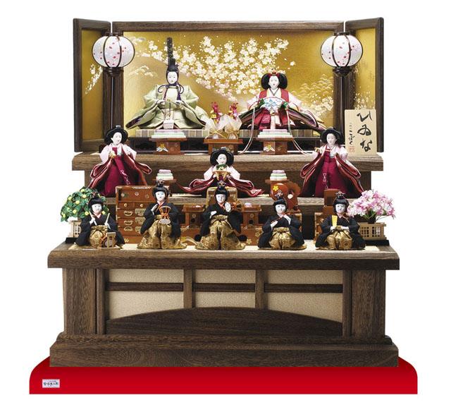 雛人形・京十番親王芥子官女・五人囃子付焼桐三段飾りセット No3010B