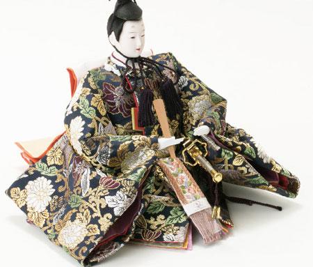 雛人形・京八番親王六寸8人(官女・五人囃子付)十人揃い焼桐三段飾り№3030 男雛