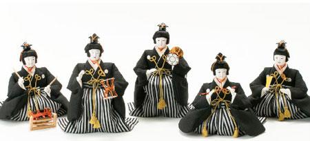 雛人形・京八番親王六寸8人(官女・五人囃子付)十人揃い焼桐三段飾り№3030 五人囃子