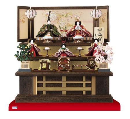 京八番親王六寸官女付焼桐三段飾りセット No3031B