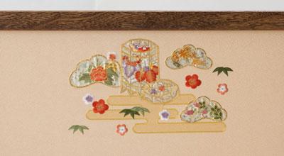 京八番親王六寸官女付焼桐三段飾りセット No3032 雛屏風 霞に貝桶