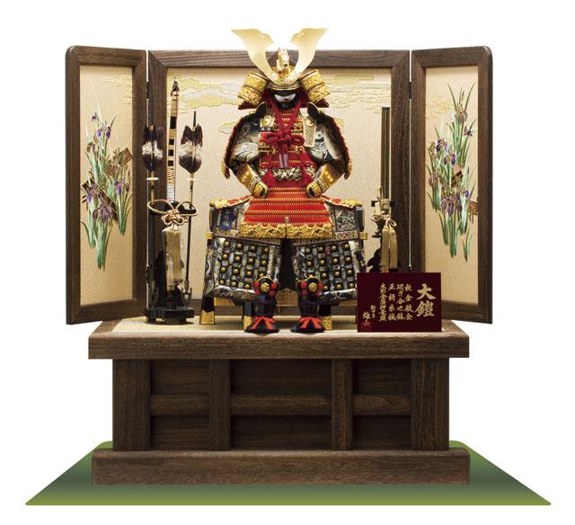 五月人形・焼桐高床台鎧飾り 屏風は菖蒲を刺繍