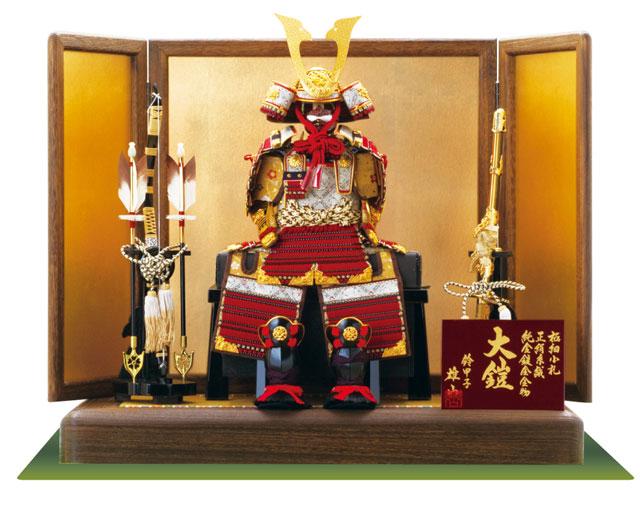 焼桐飾り台 黒小札赤糸(茜糸)威鎧飾りセット No3212