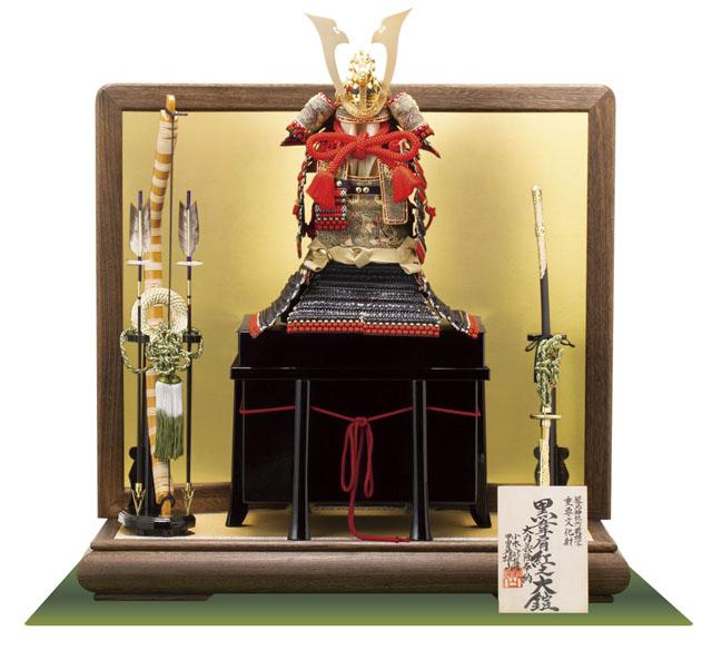 五月人形・ 厳島社所蔵 重要文化財 黒韋威肩紅の大鎧模写 鎧飾り No321I