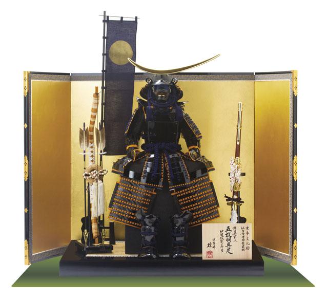 戦国武将・伊達政宗公(重要文化財)黒漆五枚胴具足模写 鎧飾り