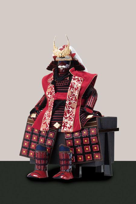 五月人形・武田信玄公創作鎧(歯噛前立)陣羽織付 焼桐板屏風飾りNo3292セット