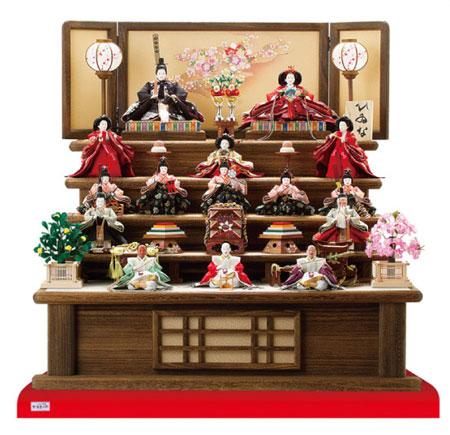 十五人揃いの焼桐五段飾りの雛人形