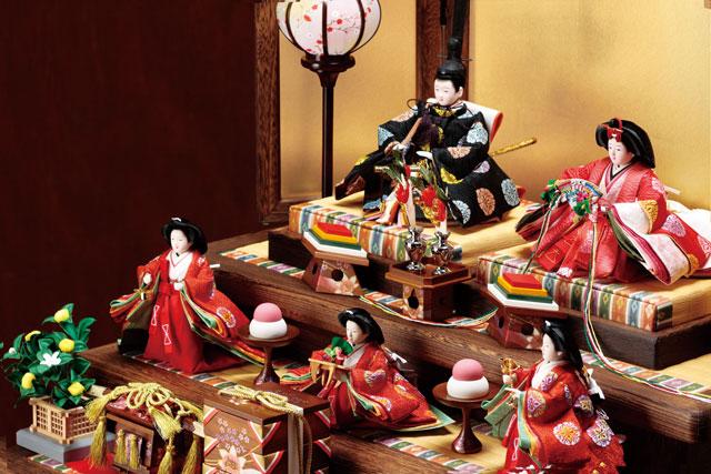 京小十番親王柳官女付焼桐三段飾りセット No2992 イメージ