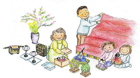 ひな祭り・桃の節句 お雛様を家族みんなで飾る~ 楽しい♪