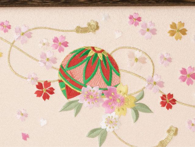 親王飾り・京小十二番焼桐平台親王飾りNo1202B ひな屏風 桜に毬の刺繍
