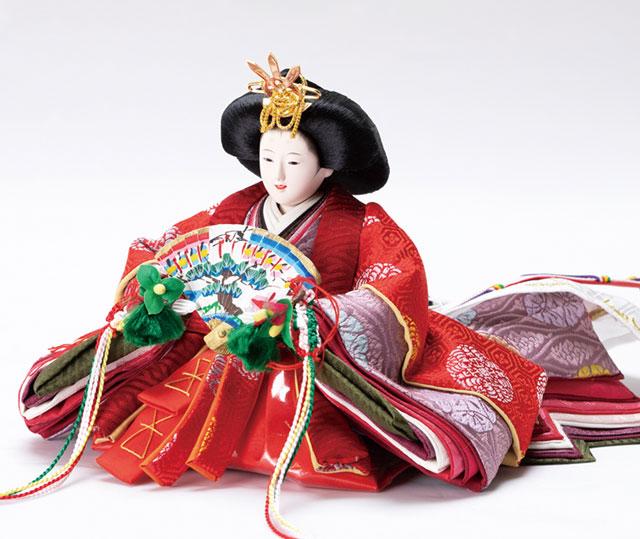 親王飾り・京十二番ミニ焼桐平台親王飾り No1303 女雛の衣装とお顔