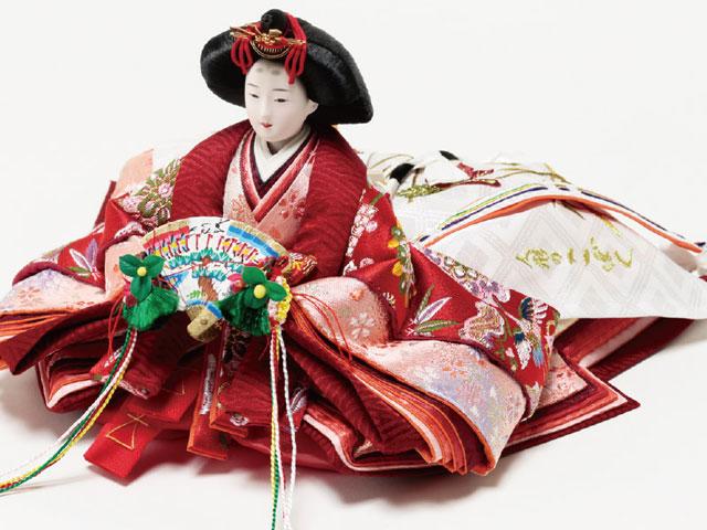 京小十番親王柳官女付塗桐三段飾りセットNo3001B 女雛