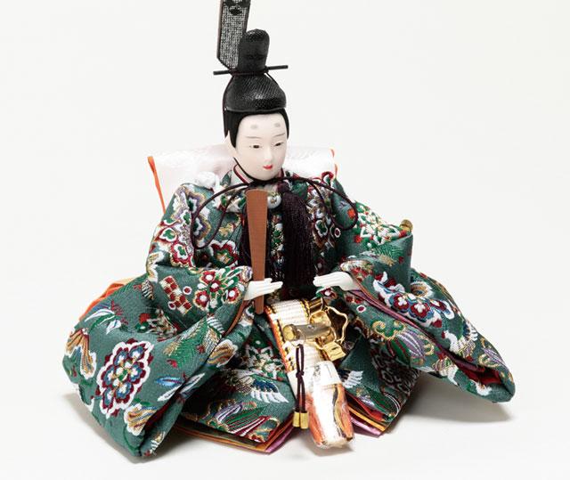 京小十番親王柳官女付塗桐三段飾りセットNo3001B 男雛衣装とお顔
