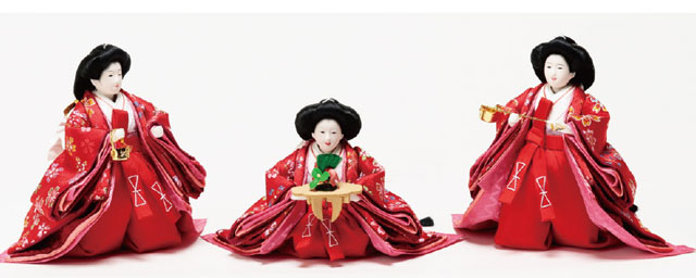 雛人形 衣装着 京小十番親王柳官女付塗桐三段飾りNo3012C 三人官女